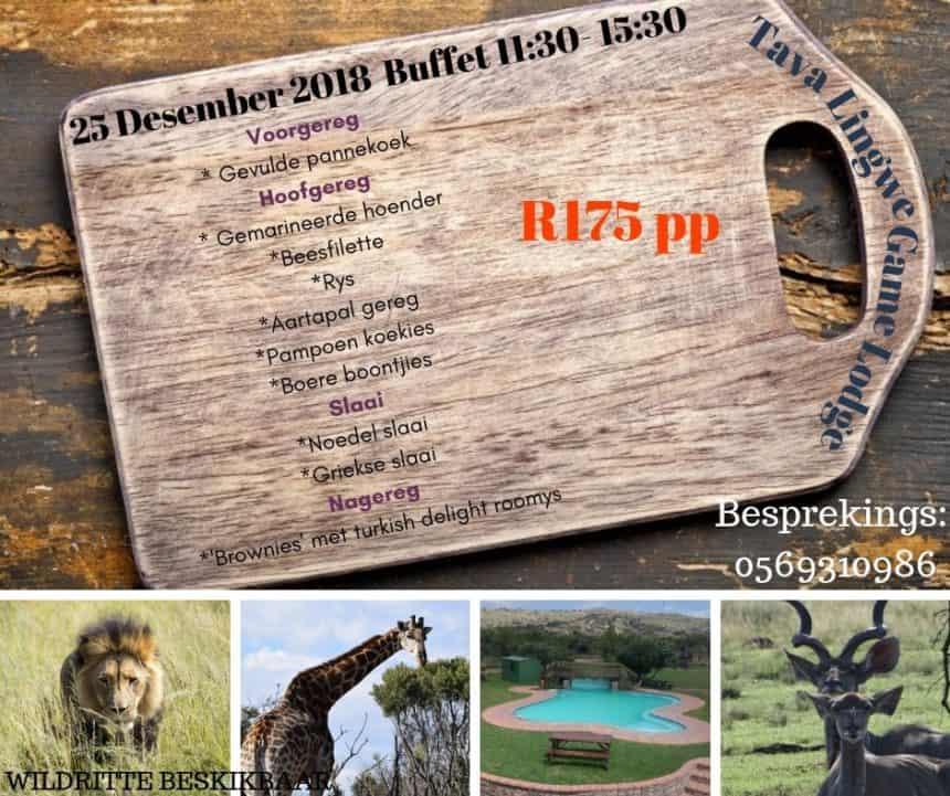 25th December 2018 – Buffet, 11:30-15:30